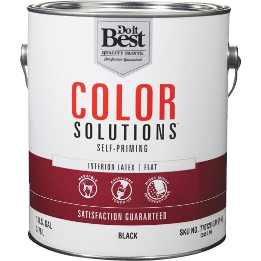 Do it Best Color Solutions Latex Self-Priming Flat Interior Wall Paint, Black, 1 Gal.