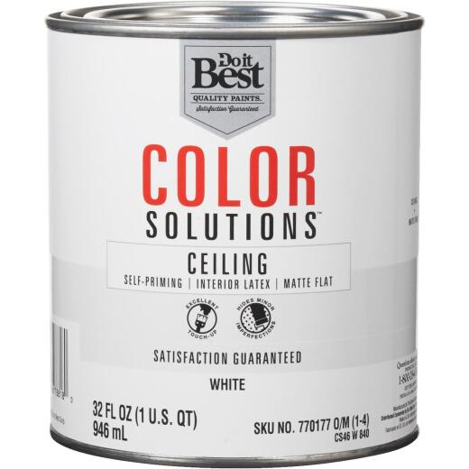 Do it Best Color Solutions Latex Self-Priming Flat Ceiling Paint, White, 1 Qt.