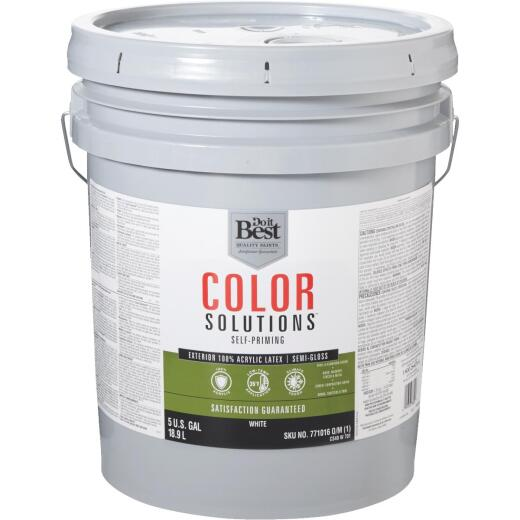 Do it Best Color Solutions 100% Acrylic Latex Self-Priming Semi-Gloss Exterior House Paint, White, 5 Gal.