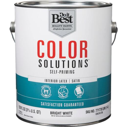 Do it Best Color Solutions Latex Self-Priming Satin Interior Wall Paint, Bright White, 1 Gal.